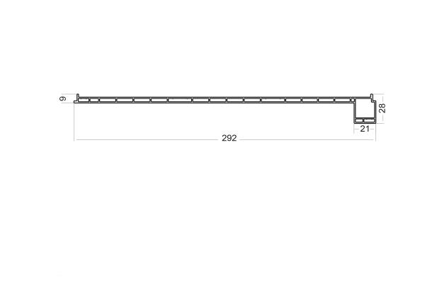 Panel filter profile with header 292mm