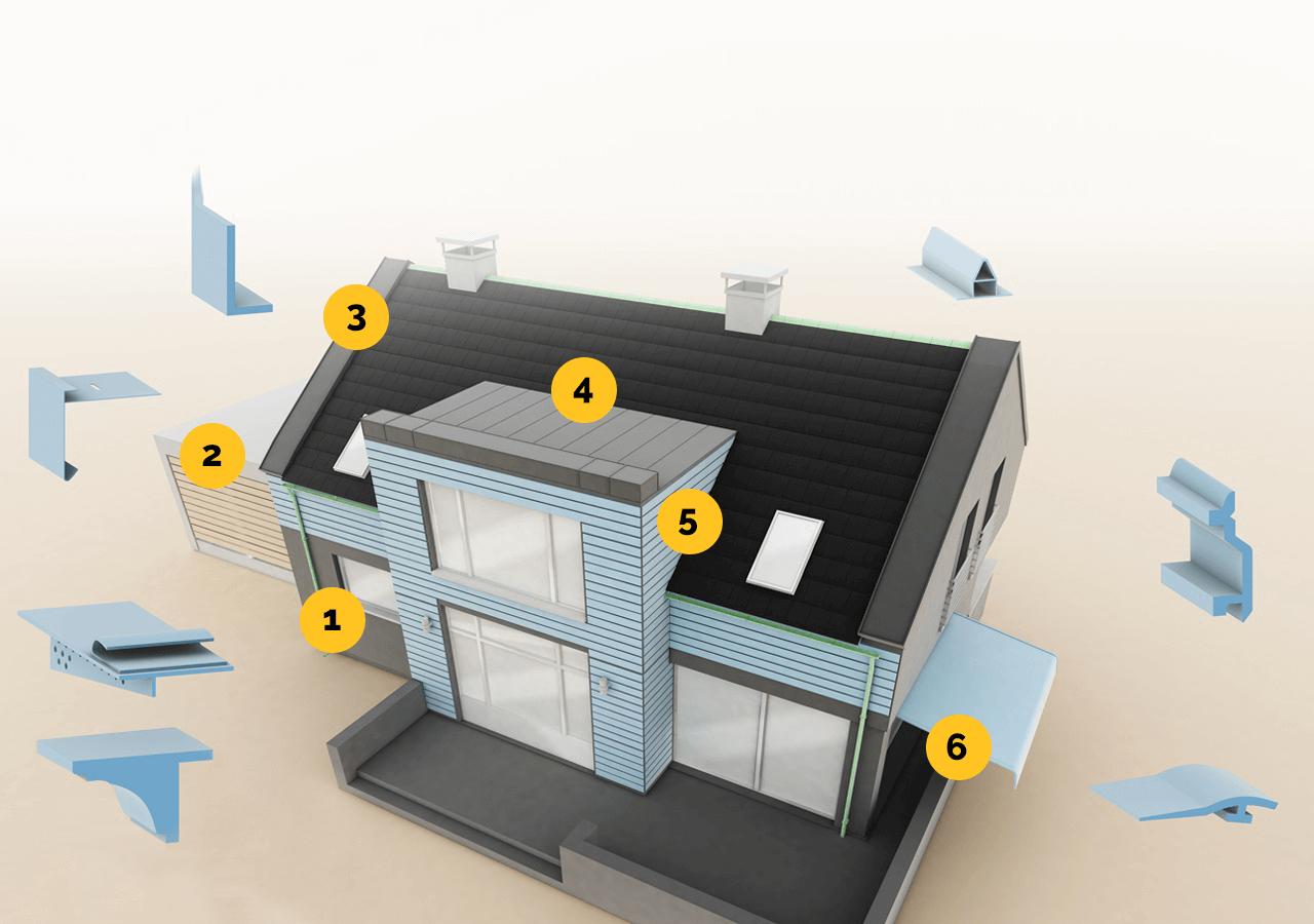 Examples of exterior use of plastic profiles infographic